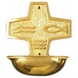 "Holy water stoup. Brass or nickel plated 9 1/2"" hig"