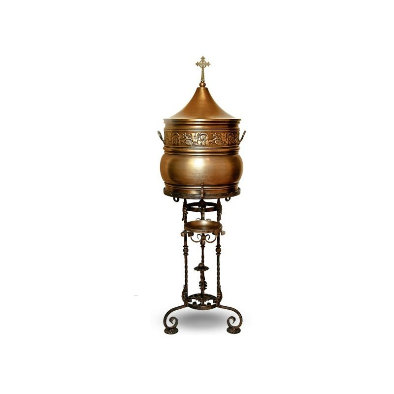 """Brass container with metal stand. Engraving avaliable on request. Height 59"""""""