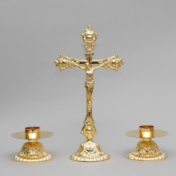 Crucifix and Candle Holders, Set  5228