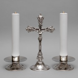 Crucifix and Candle Holders with Oil Candles, Set 5307