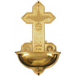 "Holy water stoup. Brass or nickel plated 12 1/2"" high"