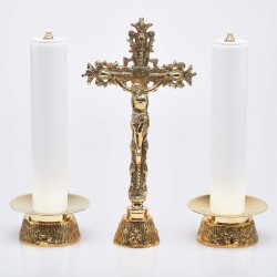 Crucifix and Candle Holders with Oil Candles, Set 2669
