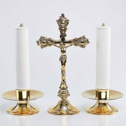 Cross and Candle holders with Oil candles, Set 2445