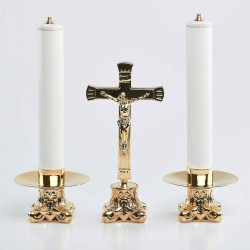 Crucifix and Candle Holders with Oil Candles, Set 6494