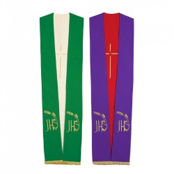 Reversible Gothic Tristole 8202 - Green and Cream  - 1