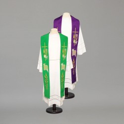 Reversible Gothic Stole 9105 - Green and Cream  - 2