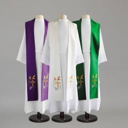 Reversible Gothic Stole 9117 - Green and Cream  - 2