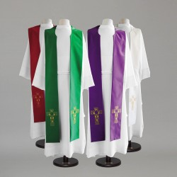Reversible Gothic Stole 9140 - Green and Red  - 1