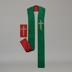 Reversible Gothic Stole 10706 - Green and Red  - 2