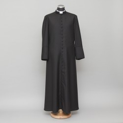 150cm Half-lined Thick Wool Black Cassock  - 1
