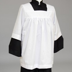 105cm Altar Server's White Gathered Cotta 13146  - 1