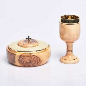 Olive Wood Ciborium and Chalice set 13320  - 1
