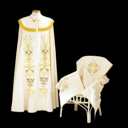 Gothic Cope and Humeral Veil 13491 - Cream  - 1