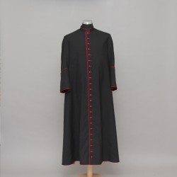 Half-lined Superfine Wool-blend Black Cassock