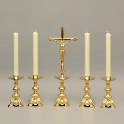 Set of 4 Candleholders and Crucifix