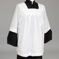 Altar Server's White Gathered Cotta 2527  - 1