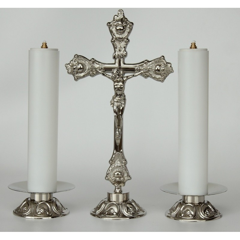 Cross And Candle Holders With Oil Candle Set 3460
